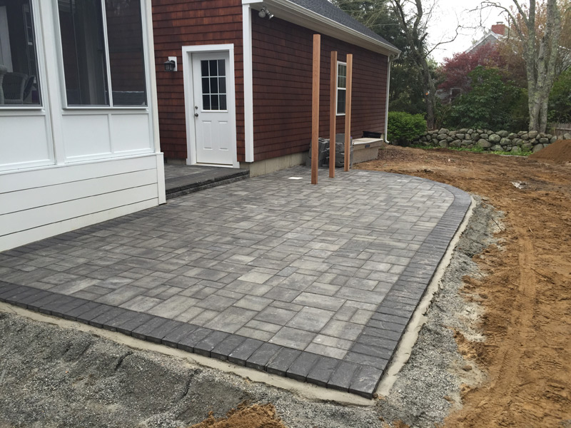 Paver patio with outdoor shower to come